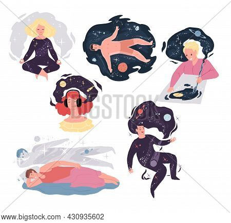 Set Of Vector Cartoon Characters In Graphic Metaphors For Creative Positive Mind Work.meditation, Mu