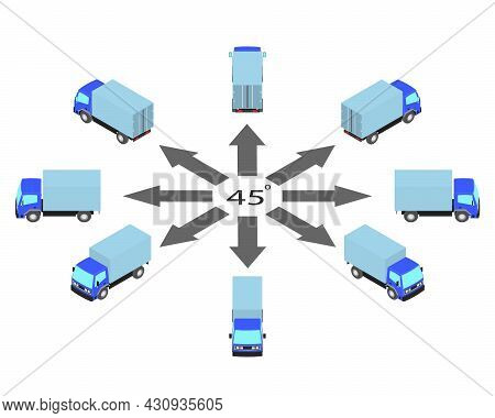 Rotation Of Blue Truck By 45 Degrees. Lorry In Different Angles In Isometric View.