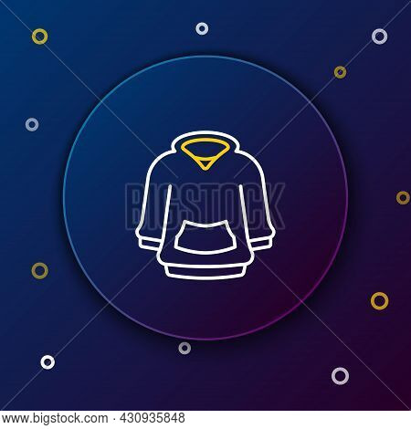 Line Hoodie Icon Isolated On Blue Background. Hooded Sweatshirt. Colorful Outline Concept. Vector