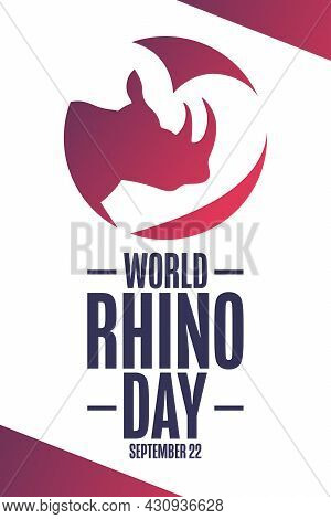 World Rhino Day. September 22. Holiday Concept. Template For Background, Banner, Card, Poster With T