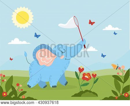 Cute Elephant And Butterflies. Small Wild Animal Catches Insects In Net. Baby Elephant Walks Around