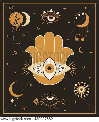 Esoteric Abstract Poster. Hamsa Hands With Mystical And Occult Hand Drawn Symbols Like Triple Goddes