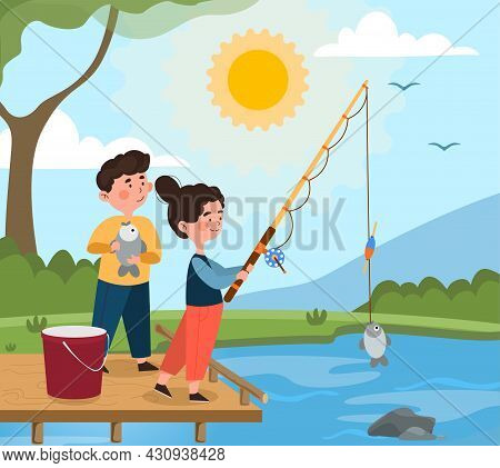 Fishing In Pond Concept. Little Boy And Girl With Fishing Rod And Fish On Bridge. Exciting Hobby For