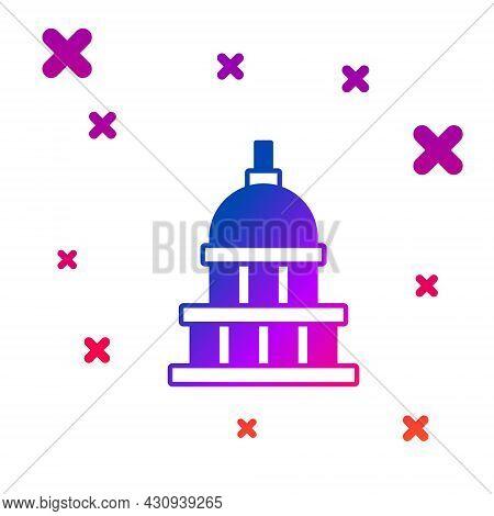 Color White House Icon Isolated On White Background. Washington Dc. Gradient Random Dynamic Shapes.