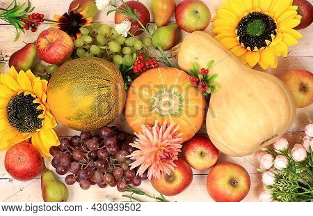Thanksgiving, Autumn Background With Seasonal Nature Fall Berries, Watermelons, Melons, Wheat, Apple