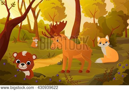 Forest Landscape Concept. House For Wild Animals. Tree, Deer, Fox And Rodent. Beautiful Poster For D