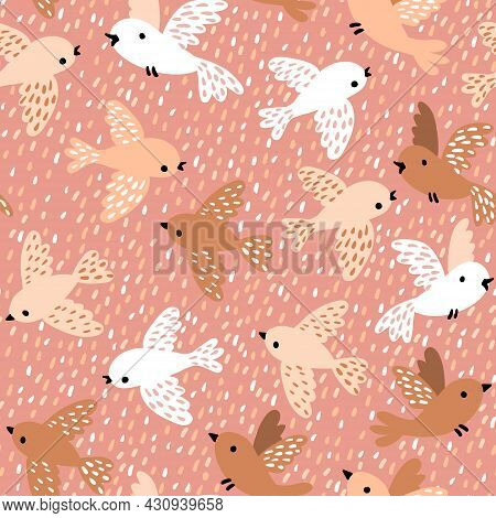 Seamless Pattern With Cute Birds In A Hand-drawn Style. Beige, White, Brown Birds Fly On A Single Ba