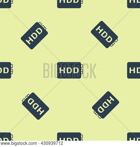 Blue Hard Disk Drive Hdd Icon Isolated Seamless Pattern On Yellow Background. Vector