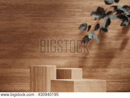 3d Background, Wood Podium Display Set. Nature Brown And Beige Colors. Product Promotion Beauty Cosm