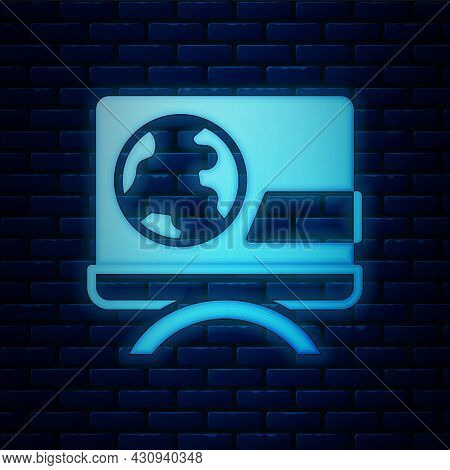 Glowing Neon Breaking News Icon Isolated On Brick Wall Background. News On Television. News Anchor B