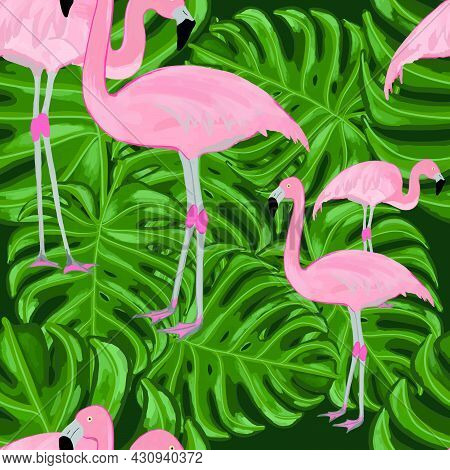 Pattern Flamingos And Monstera Leaves, Pink Flamingo, Monstera Leaves, Textile Pattern
