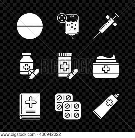 Set Medicine Pill Or Tablet, Iv Bag, Syringe, Medical Book, Pills Blister Pack, Ointment Cream Tube