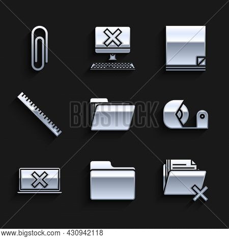 Set Document Folder, Delete, Scotch, Laptop And Cross Mark On Screen, Ruler, File Document And Paper