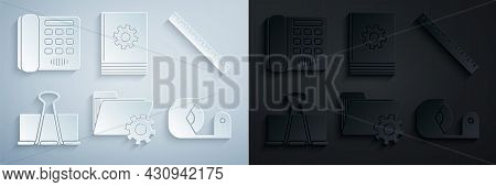 Set Folder Settings With Gears, Ruler, Binder Clip, Scotch, User Manual And Telephone Icon. Vector