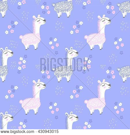 Seamless Vector Pattern With Lamas On A Lilac Background. Hand Drawn Cute Creative Llamas With Flowe