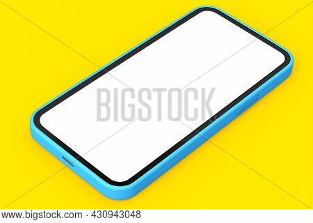 Realistic Blue Smartphone With Blank White Screen Isolated On Yellow Background