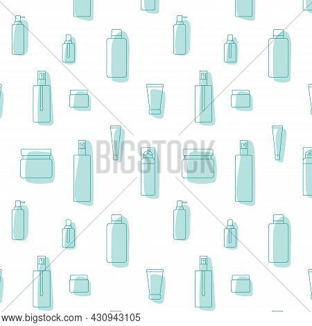 Cosmetic Product Package Icon Seamless Pattern - Bottle, Jar, Plastic Container For Beauty Industry.