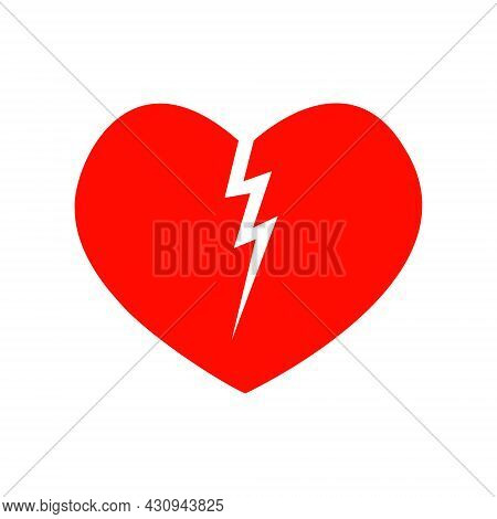 Red Broken Heart Icon Isolated On White Background. Symbol Of Heartbreak, Divorce, Parting. Vector F