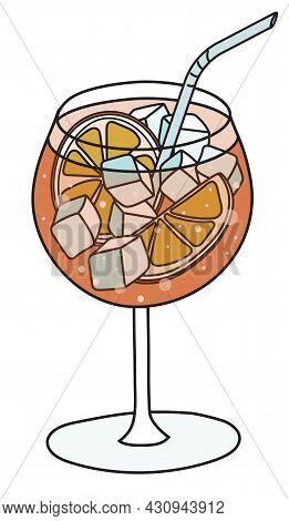 Stylish Hand-drawn Doodle Cartoon Style Orange Aperol Spritz Cocktail In Balloon Glass. Vector Illus