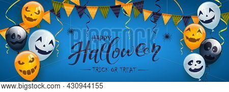 Banner With Orange, White And Black Balloons With Scary Smiles, Pennants, Spiders And Bats On Blue B