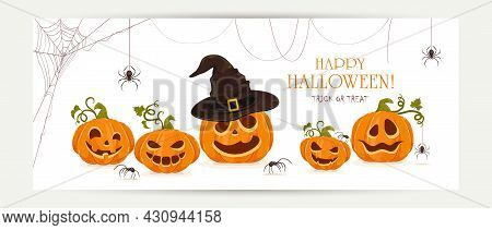 Halloween Banner With Set Of Smiling Pumpkins With Spiders Isolated On White Background. Cartoon Ele