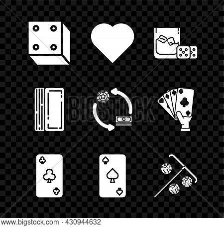 Set Game Dice, Playing Card With Heart Symbol, And Glass Of Whiskey Cubes, Clubs, Spades, Stick For
