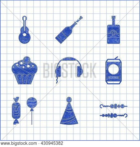 Set Headphones, Party Hat, Grilled Shish Kebab, Beer Can, Lollipop, Muffin, Whiskey Bottle And Guita
