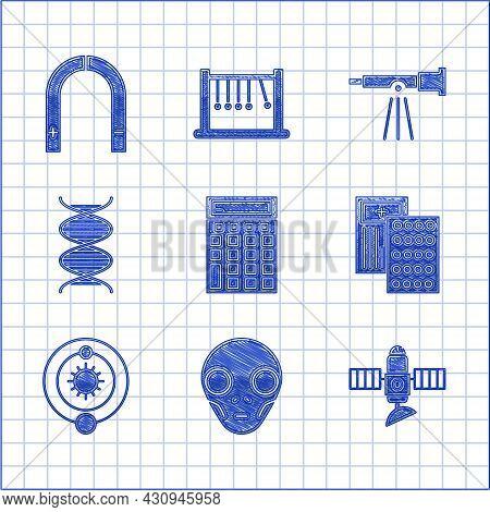 Set Calculator, Extraterrestrial Alien Face, Satellite, Pills In Blister Pack, Solar System, Dna Sym
