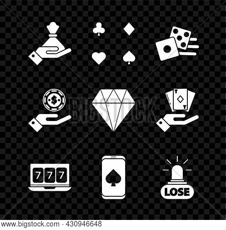Set Hand Holding Money Bag, Playing Cards, Game Dice, Online Slot Machine With Lucky Sevens Jackpot,