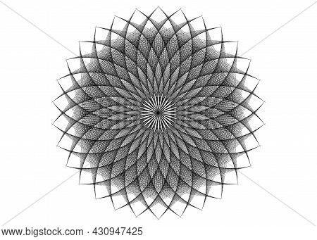 String Art Flower Mandala, Seed Of Life Symbol Sacred Geometry. Logo Icon  Geometric Mystic Mandala
