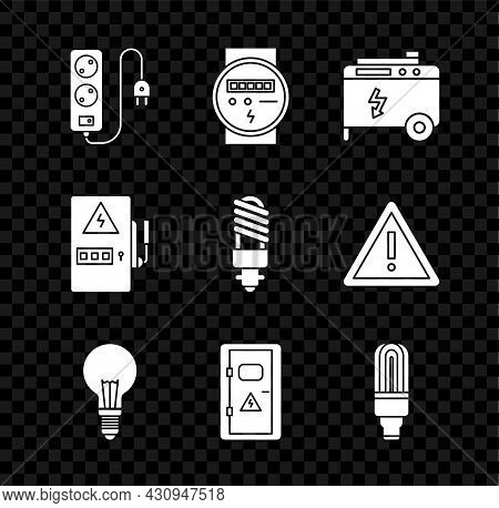 Set Electric Extension Cord, Meter, Portable Power Electric Generator, Light Bulb With Concept Of Id