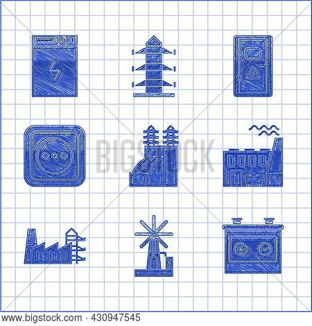 Set Nuclear Power Plant, Wind Turbine, Car Battery, Coal And Factory, Power Station, Electrical Outl