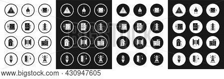 Set Ampere Meter, Multimeter, Voltmeter, Electrical Panel, High Voltage Sign, Power Pole Line, Plug,