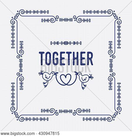 Navy Blue Swirl Art Deco Square Border Frame Pattern Greeting Card With Word Together And Two Cute B