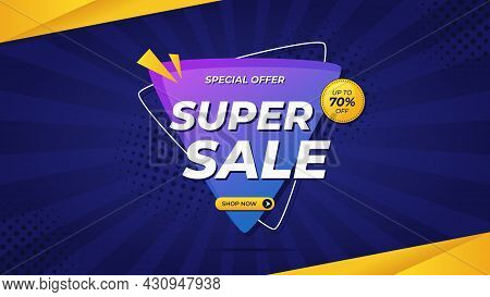 Super Sale Banner With Purple Gradient Background And Special Offer Up To 70%