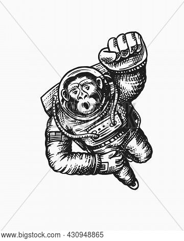 Monkey Astronaut Flying Up. Chimpanzee Spaceman Character. Astronomical Galaxy Space. Funny Cosmonau
