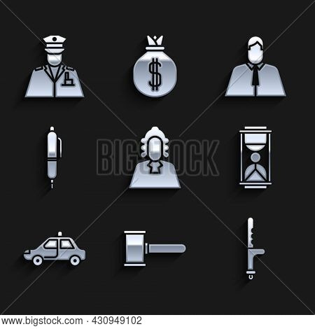 Set Judge, Gavel, Police Rubber Baton, Old Hourglass With Sand, Car Flasher, Pen, Lawyer, Attorney,
