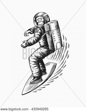 Monkey Astronaut Rides A Surf Board.. Chimpanzee Spaceman Surfrider. Cosmonaut Character. Fashionabl
