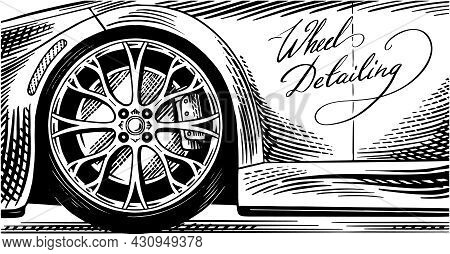 Car Background. Wheel Detailing. Truck Close Up. Change From Winter To All-season Tires. Hand Drawn