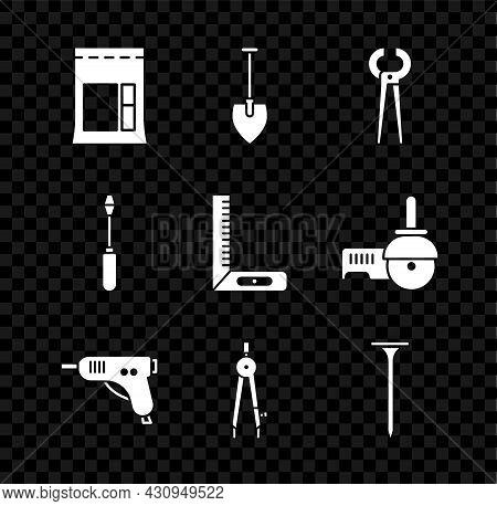 Set Cement Bag, Shovel, Pincers And Pliers, Electric Hot Glue Gun, Drawing Compass, Metallic Nail, S