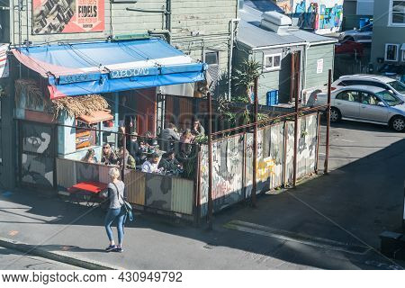 Wellington New Zealand - July 31 2021; Outdoor Cafe Space Of Fidel's Cafe In City Alternative Area,