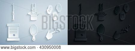 Set Magic Hand Mirror, Runes, Decree, Paper, Parchment, Scroll, Spell, Magician Hat Rabbit And Wand