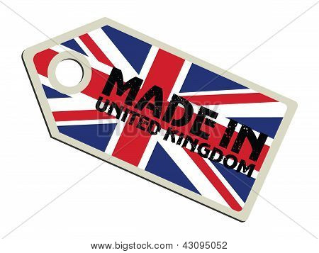 label with flag of United Kingdom