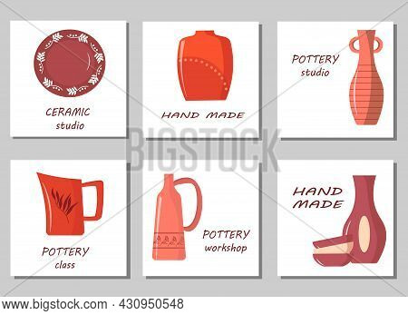 A Set Of Cards For The Pottery Workshop. Images Of Various Handmade Items - Vases, Plates, Jug And B