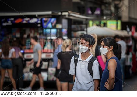 Belgrade, Serbia - June 7 , 2020: Young Asian Couple, Lovers,  Chinese, Wearing A Respiratory Face M