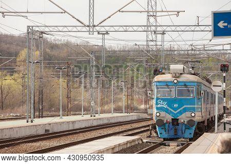 Resnik, Serbia - April 10, 2021: Electric Suburban Train, An Emu Of Beovoz Bg Voz Service Entering R