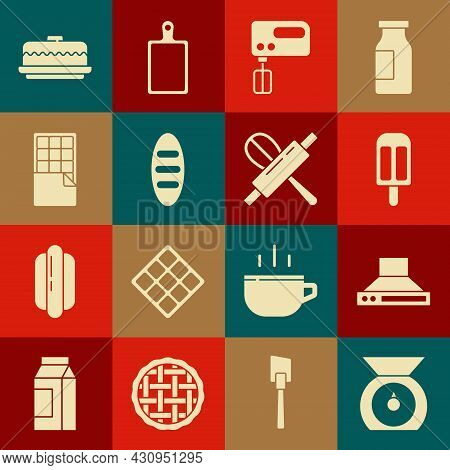 Set Scales, Kitchen Extractor Fan, Ice Cream, Electric Mixer, Bread Loaf, Chocolate Bar, Cake And Wh