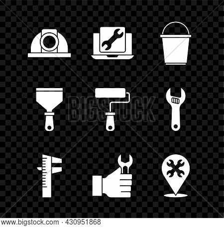 Set Worker Safety Helmet, Laptop Service, Bucket, Calliper Caliper And Scale, Wrench Spanner, Locati