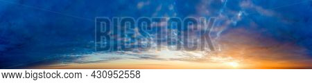 Panorama sunrise sky and cloud at morning background image . Panorama sky and cloud.