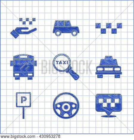 Set Magnifying Glass And Taxi Car, Steering Wheel, Location With, Taxi, Parking, Bus, Roof And Hand